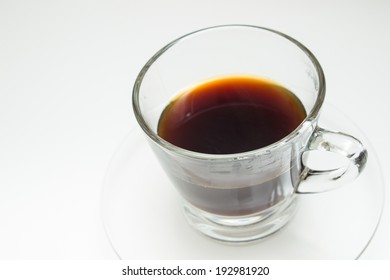 Black coffee in white background.