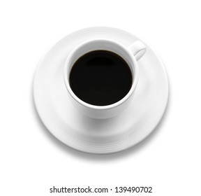 black coffee in white cup on white background, isolated