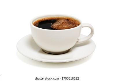 Black coffee in a white cup on plate top view isolated on white background. With clipping path