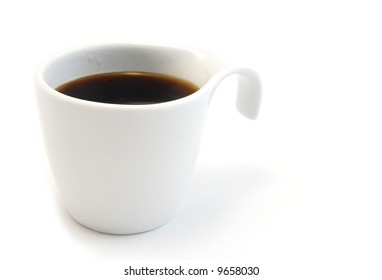 Black Coffee in a white cup on a white background