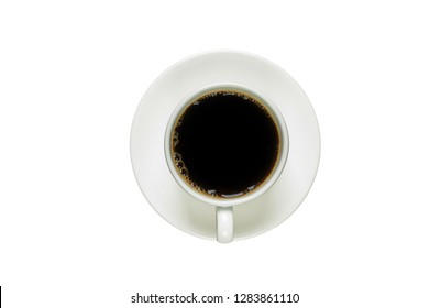 Black coffee in a white cup with a saucer,Top view of a coffee cup isolated on white background.