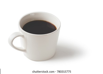 Black coffee in white mug isolated on white background with path.