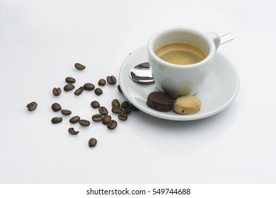 Black cofffee with cookies, isolated on white