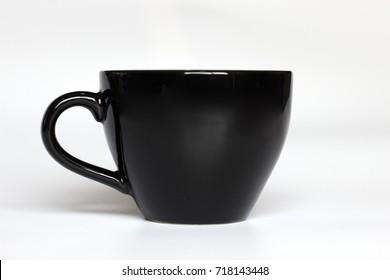 Black color coffee mug on white background