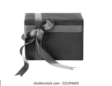 Black color gift box isolated on white background
