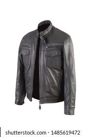 Black color leather jacket photo