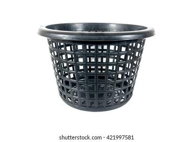Black color plastic basket on white background
