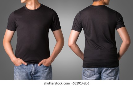 Black color T shirt for template design with white background.