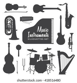 black color various music instruments silhouettes set isolated on white background