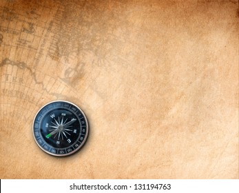 Black Compass on Brown Paper with old map Print background