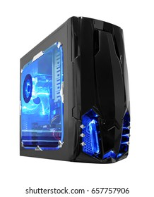 black computer case with  blue light at side and front