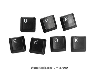 Black computer keyboard buttons isolated on white background