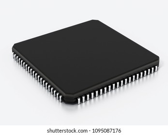 Black computer microchip isolated on white background. 3D illustration.