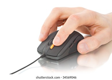 black computer mouse with hand isolated on white