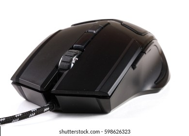 black computer mouse isolated on white background