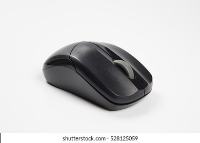 Black computer mouse on a white background.