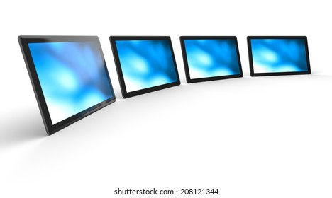 Black computer tablets with blue screens 3