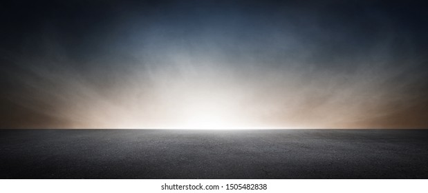Black Concrete Floor with Dramatic Sky Horizon Presentation Background Scene