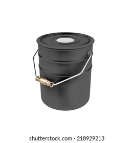 Black container with white paint isolated on white background. Metal bucket with a paint.