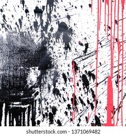 Black and coral spray paint for graffiti on a white background