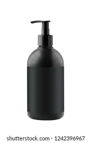 Black cosmetic container with pump isolated on white background. Mockup of container for soap, shampoo, shower gel etc.