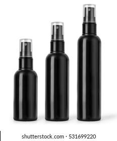 Black  cosmetic spray bottles set isolated on white background