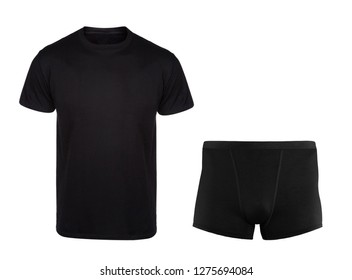 Black cotton t-shirt with underwear for men isolated