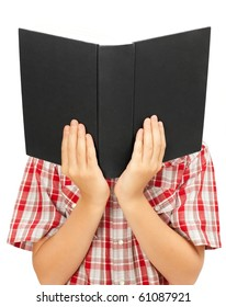 Black cover of book in hands instead head. Isolated on white.