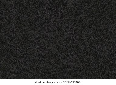 Black cow leather texture. Natural cow leather. Genuine black leather.