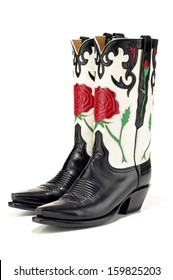 Black Cowboy Boots with Red Rose