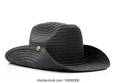 black cowboy straw hat isolated on white background