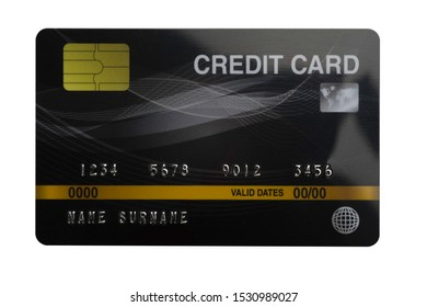 Black credit card isolated on white background with clipping path
