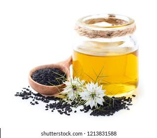Black cumin oil with flowers