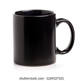 Black cup mug on white background isolation