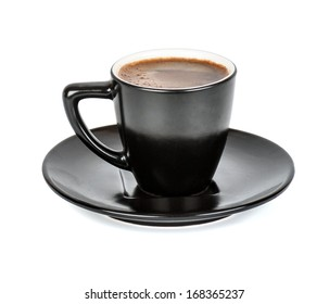 black Cup and saucer with a coffee in isolation
