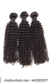 Black curly human hair extensions bundles