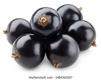 Black currant Clipping Path. Currant macro photo. Black currant isolated on white background.