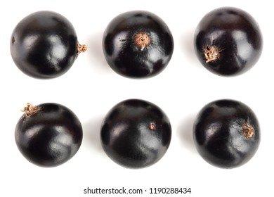 black currant isolated on white background. Top view. Flat lay pattern. Set or collection