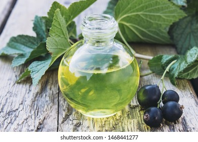 Black currant oil in a bottle on the background of old boards. Cold remedy extract of black currant. Close-up.