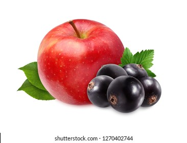 black currant and red Apple isolated on white background. one fruit and berries.