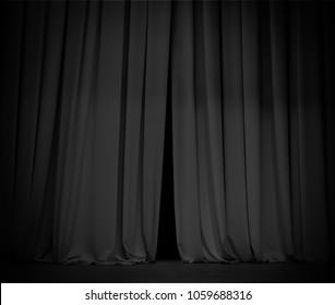 Black curtain background open a little bit