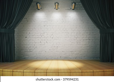 Black curtain of classical theater, , 3d rendering