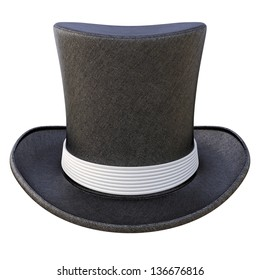 Black cylinder hat with white ribbon. isolated on white.