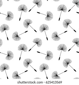 black dandelions seed floral fluff pattern on a white background seamless raster copy.