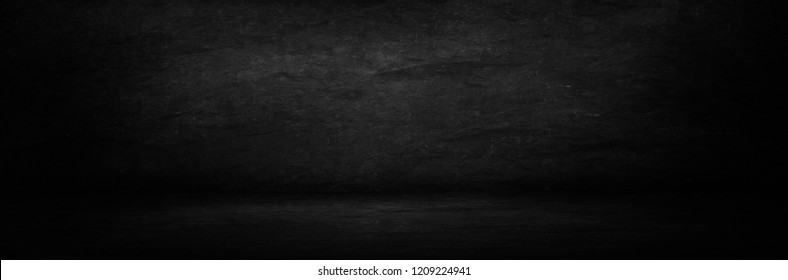 black and dark chalk board banner, blank interior wall and studio room for presented product