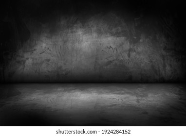 Black, dark and gray abstract cement wall and studio room , interior texture for display products. Room black floor is made of dark plaster for interior decoration or gym for exercise.