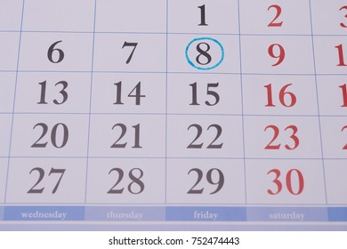 black and dark red numbers drawn in the weekly and the eighth date circled