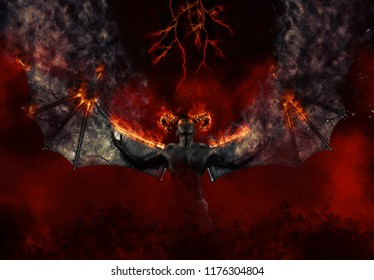 Black demon. Demon summons evil forces and opens hell portal