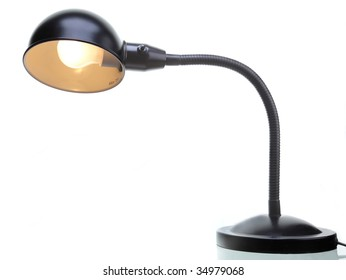Black desk lamp on a white background