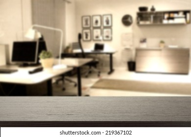 black desk and office place